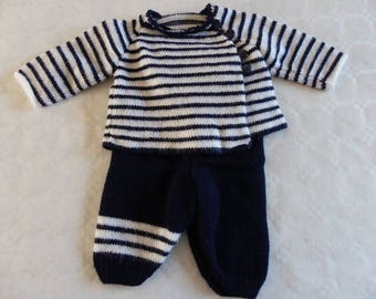 Navy jacket with blue stripes and white 3 months baby girl or baby boy