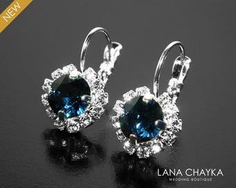 Navy Blue Halo Crystal Earrings, Swarovski Montana Rhinestone Earrings, Dark Blue Leverback Earrings, Navy Blue Bridal Bridesmaids Jewelry