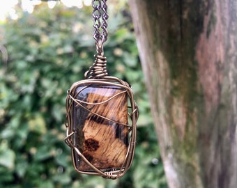 Resin and Wood Necklace, Handmade, Unique gift