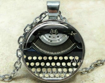Typewriter art pendant, typewriter necklace, typewriter jewelry, writer necklace, Pendant#HG138P