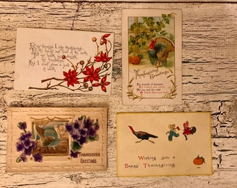 4 Vintage Thanksgiving Postcards - 1900-1915 - Beautiful for Place Cards, Mixed Media and Crafts