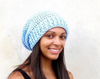 Crochet Slouchy Hat, Women, Men, Teen, Slouch Hat, Tam,  Adult, Baby Blue, Ribbed,