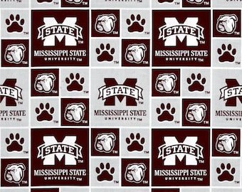 Mississippi State Bulldogs Cotton Fabric 1 Yard Sports Team 100% Cotton