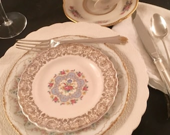 Vintage, Mismatched 5 piece Place Setting for, weddings, tea parties, dinner parties, bridal , baby showers, hostess, bridesmaid gifts 6009