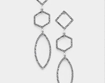 GEOMETRIC Rhainstone  Pave  Link Dangle Earring