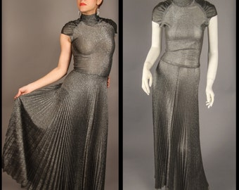 1970's Silver Lame Gown with pleating