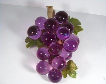 Mid Century  Lucite Lavender Grapes - Lucite Grape Cluster