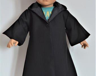 "Handmade Star Wars Jedi Anakin Skywalker Black Costume Cloak Robe fit 18"" American Girl Boy Dolls"