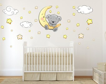 064 wall decals Teddy on moon clouds stars sleeping baby Wall Decoration * Nikima * in 6 verse. Sizes