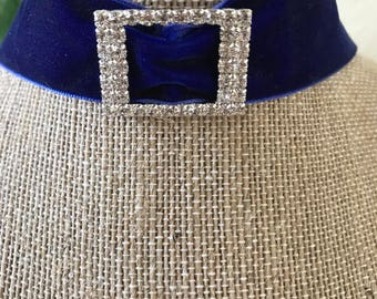 "1"" Gorgeous Royal Blue velvet choker with crystal buckle"