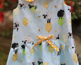Girls sun dress,girls sheep dress,toddler lamb dress,toddler sundress,girls summer dress,girl polka dot dress,girls spring dress,girls dress