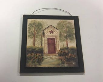 The Royal Palace Outhouse Sunflowers Country Bathroom Wooden Wall Art Sign  Bath Decor