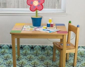 "Splat Mat/Tablecloth ""Aqua Trees of Life"" - Laminated Cotton BPA  & PVC Free - Choose Your Size below!"