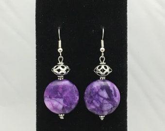 Purple Crazy Lace Agate and Silver Tone Bali Style Filigree Gemstone Dangle Earrings