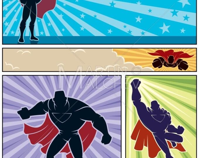 Superhero Banners - Vector Cartoon Illustration. super, hero, man, superman, banner, background, silhouette, style, comic book, flying
