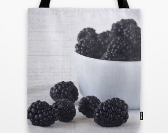Blackberries Photo Tote Bag, Photo Tote, Food Tote, Grocery Tote, Food Photography, Reusable Tote