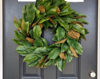 Magnolia Wreath, Rustic Wreath, Front Door Wreath, Fall Wreath, Year Round Wreath, Summer Wreath, Housewarming, Large Magnolia leaves