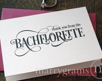 Bachelorette Party Thank You Card- Engagement, Bridal Shower or Bachelorette Thank You Cards, Hot Pink, Purple, Gold CS06 (Set of 10)