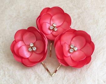 Coral read silk hair flowers bridesmaid hair grips bobby pins, coral red shoe clips diamanté flower, handmade sew on sash dress ornament