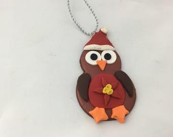 Robin gift tag/ Christmas decoration - poinsettia