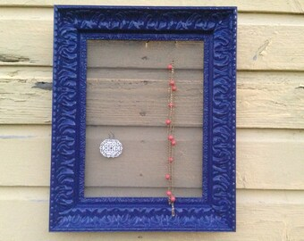 Glossy navy blue jewelry frame display organizer made from upcycled and repurposed ornate frame