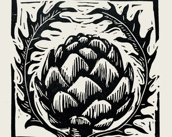 Artichoke linocut print alcachofa