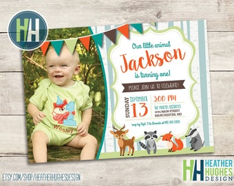 forest animals invitation, woodland birthday invite, boy first birthday, 1st birthday printable invitation, birch trees invite, baby fox