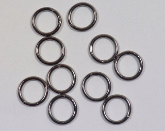 8mm Closed Jump Rings - Gunmetal - Choose Your Quantity