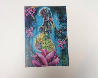 Pregnancy art - Postcard Print - Blessingway Doula Midwife
