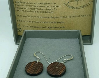 Honduras Rosewood Circle Drop Earrings- handcrafted jewellery by Crickhollow Crafts - bespoke by nature