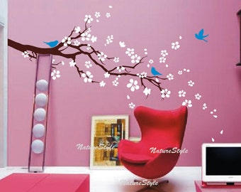 Cherry blossom wall decals Nursery wall sticker Branch vinyl wall decal Children wall decals flower-plum blossom with Flying Birds
