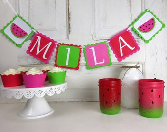 Watermelon Name Banner - Watermelon Party - Watermelon Party Decorations - Watermelon Birthday Decor