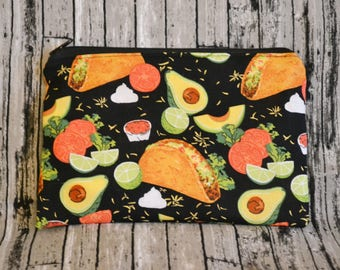 Taco Makeup Bag - Waterproof Bag -Mama Cloth-Pencil Pouch-Zipper Pouch-Zipper Bag-Gift for Her-Small Bag-Fiesta - Cinco de Mayo - Cosmetics
