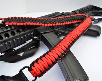 "550 Paracord Rifle Sling with Compass & Flint Firestarter Clasp 50"" Single Point Gun sling RED / BLACK"