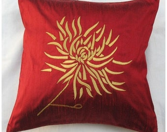 red chrysanthemum throw pillow -red with gold embroidery 16X16 inch decorative cushion cover
