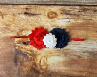 4th of July Headband Hair Clip - Newborn baby toddler child girls infant adult red white blue Fourth of July 4th Independence Day