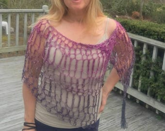 Sexy Chic Shimmer Fashion Micro Poncho - Openwork Crochet Sparkle Pink Purple Cotton