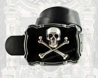 Skull and Cross Bones Large Belt Buckle Inlaid in Hand Painted Glossy Black Enamel Steampunk Neo Victorian Inspired Custom Colors Available
