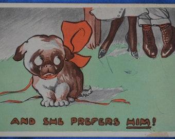 Art Comic Dog Crying And She Prefers Him Bamforth Antique Postcard