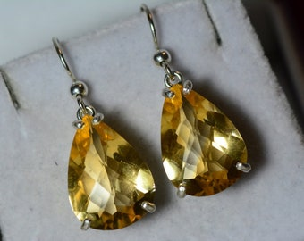 Citrine Earrings, Certified 16.09 Carat Dangles Appraised 800.00 Sterling Silver, Real Genuine Natural Jewelry, Pear Cut November Birthstone