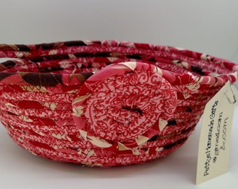 Red Fabric Rope Basket, Rope Basket, Oval Fabric Rope Basket, Fabric Basket