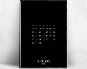 Black Printable Monthly Calendar 2018, Minimalist 12 Month Calendars Prints, Dark Tumblr Room Decor, Dark Affiche Pages Instant Download.