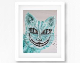 Cheshire Cat Painting, Cheshire Cat Print, Alice In Wonderland Art, Wonderland Print, Cheshire Wall Art. Alice in Wonderland Decor
