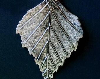 LARGE leaf silver tone