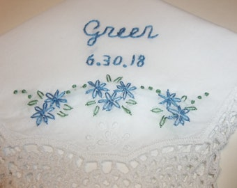 personalized, something blue, wedding gift, handkerchief, by hand, blue for bride, bridal gift, rustic weddings, daisy flowers, bouquet wrap