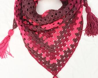 Crochet Granny Shawl, Crochet Triangle Granny Scarf, Premier Sweet Roll crochet scarf
