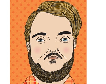 Bearded Man Card - Orange