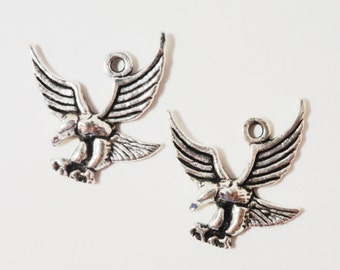 Silver Eagle Charms 17x17mm Antique Silver Metal Bald Eagle Bird Charm Pendant Jewelry Making Jewelry Findings Craft Supplies 10pcs
