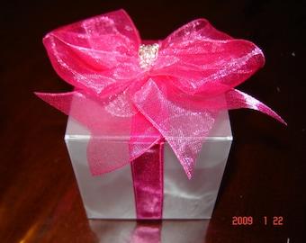 Wedding Favor Box. Hot Pink Favour Box.