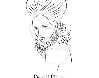 Digital Stamp,Clipart,Queen of Hearts Line art,Fashion Lady portrait,Fashion Girl graphics,digistamp,fashion Illustration INSTANT DOWNLOAD